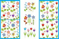Wallpapers and borders with flowers Stock Image