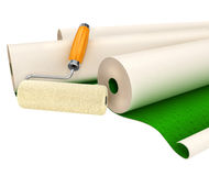 Wallpapers and roller tool for house repairing Stock Photography