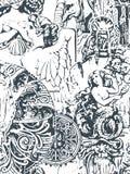 Wallpapper victorian del modelo del extracto del vector incons?til lamentable del damasco stock de ilustración