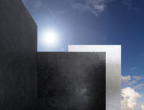 Walls. Three monoliths in the clouds Stock Image
