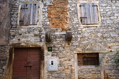 Walls of abandonned house in Bale. Croatia royalty free stock images