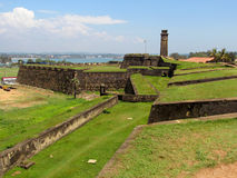 Walls ad clock tower of colnial Fort Galle, Sri Stock Photos