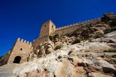 Walls of Almeria, Spain's fortified castle. Walls of fortified castle,nAlmería, Spain Stock Photos