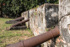 Walls of ancient cannon Stock Photos
