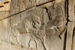 Persepolis is the capital of the Achaemenid kingdom. sight of Iran. Ancient Persia. Bas-relief on the walls of old buildings. Walls of the ancient capital of royalty free stock images
