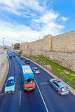 Walls of Ancient City, Jerusalem, Israel. Car traffic near Walls of Ancient City, Jerusalem Royalty Free Stock Images