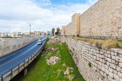 Walls of Ancient City, Jerusalem, Israel. Car traffic near Walls of Ancient City, Jerusalem Royalty Free Stock Photos
