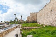 Walls of Ancient City, Jerusalem, Israel. Car traffic near Walls of Ancient City, Jerusalem Stock Photography