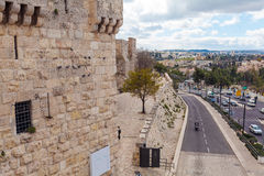 Walls of Ancient City, Jerusalem, Israel. Car traffic near Walls of Ancient City, Jerusalem Royalty Free Stock Photography