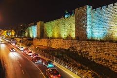 Walls of Ancient City, Jerusalem, Israel. Walls of Ancient City at Night, Jerusalem, Israel Stock Images