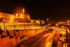 Walls of Ancient City, Jerusalem, Israel. Walls of Ancient City at Night, Jerusalem, Israel Stock Photography