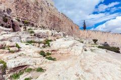 Walls of Ancient City, Jerusalem, Israel. Walls of Ancient City on Rock foundation, Jerusalem, Israel Royalty Free Stock Photography