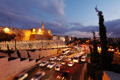Walls of Ancient City at Night, Jerusalem Stock Photos
