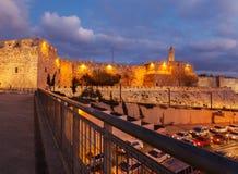 Walls of Ancient City at Night, Jerusalem Royalty Free Stock Photos