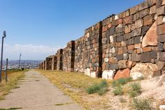 Walls of ancient Erebuni Fortress. Walls of Erebuni Fortress. Armenia. Yerevan stock photos