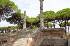 Walls and ancient ruins in ostia site. With columns Royalty Free Stock Photos