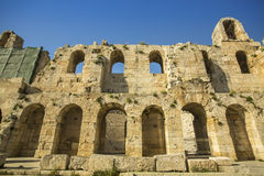 Walls of ancient theater under Acropolis of Athens Royalty Free Stock Images