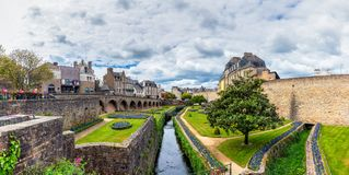 Walls of the ancient town and the gardens in Vannes. Brittany (Bretagne), Northern France. stock photo