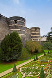 Walls  of Angers castle, France Stock Photo