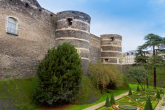 Walls  of Angers castle, France Stock Photography