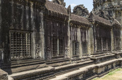 Walls of Angkor Wat with ventilation Royalty Free Stock Photos
