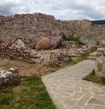 Walls and artifacts of the Peristera Fortress in  Bulgaria Stock Photo