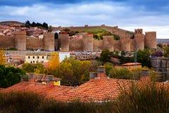 Walls of Avila in autumn.  Spain Stock Photo