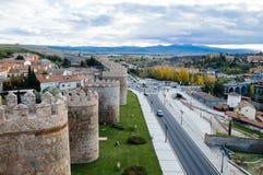 Walls of Avila and cityscape Royalty Free Stock Photos