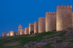 Walls of Avila at dusk Royalty Free Stock Photos