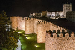 Walls of Avila Night Stock Photos
