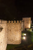 Walls of Avila Night Stock Photography