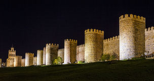 Walls of Avila Spain, night Stock Images