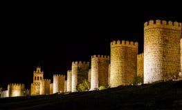 Walls of Avila Spain, night Stock Images