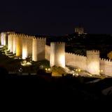 Walls avila spain. Night scene of the walls of avila in spain Royalty Free Stock Photo