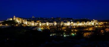 Walls of Avila Spain, night Stock Photos