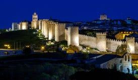 Walls of Avila Spain, night Stock Photo