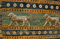 Walls of Babylon. Ornament of the Babylon walls, inside the Pergamon museum in Berlin Stock Photos