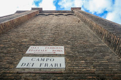 Walls of Basilica dei Frari in Italy Royalty Free Stock Photography