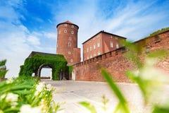 Walls of beautiful Wawel Royal Castle in Krakow Stock Images