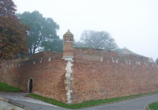 Walls of the Belgrade fortress Kalemegdan in a foggy morning Stock Photo