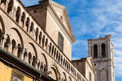 Walls and campanile of Duomo Cathedral in Ferrara Royalty Free Stock Image