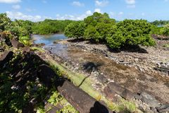 Walls and canals of Nandowas part of Nan Madol - prehistoric ruins. Pohnpei, Micronesia, Oceania. stock photo