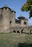 Walls of Carcassonne. The medieval walled city of Carcassone, France royalty free stock image