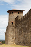 Walls of Carcassonne-detail. Specific tower and wall detail from the fortified city of Carcassonne in Uade department of France Stock Photography