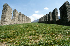 The walls of Castelgrande fortress at Bellinzona Royalty Free Stock Images