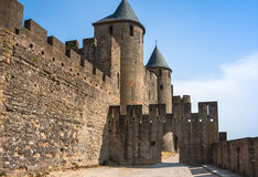 Walls of castle Carcassone, France. Stock Photo