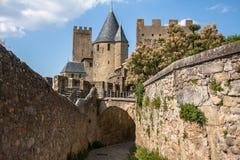 Walls of castle Carcassone, France. Stock Photos