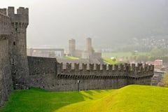 Walls of the castle Montebello in Switzerland. Walls of the medieval castle Montebello in Bellinzone, Switzerland Royalty Free Stock Photography