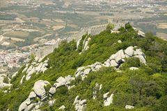 Walls of Castle of Sintra, or Castelo dos Mouros or Moorish Castle, Sintra, Portugal Royalty Free Stock Image