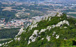 Walls of Castle of Sintra, Moorish Castle Stock Photos